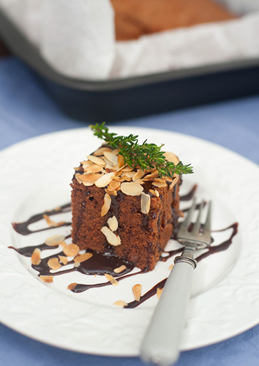 Roasted Almond Chocolate Cake